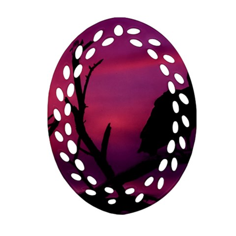 Vultures At Top Of Tree Silhouette Illustration Ornament (Oval Filigree)