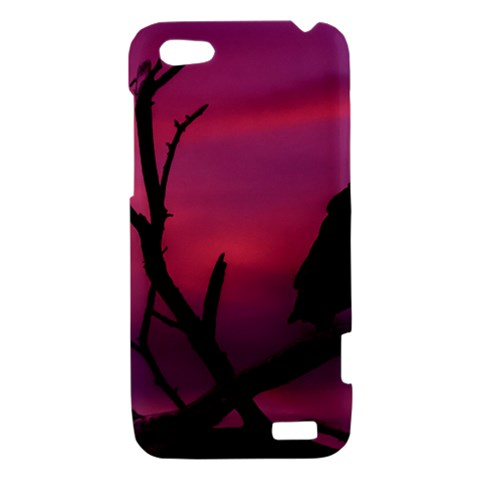 Vultures At Top Of Tree Silhouette Illustration HTC One V Hardshell Case