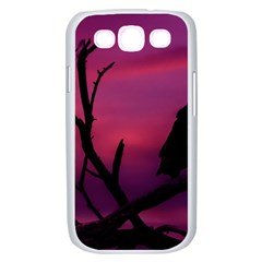 Vultures At Top Of Tree Silhouette Illustration Samsung Galaxy S III Case (White)