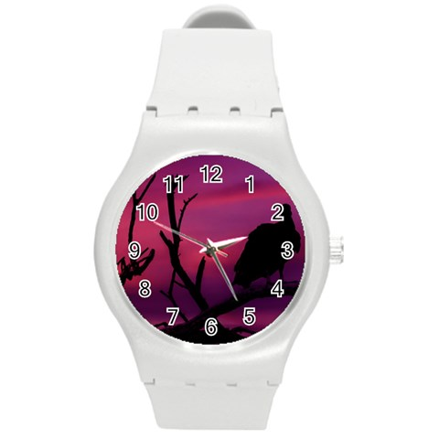 Vultures At Top Of Tree Silhouette Illustration Round Plastic Sport Watch (M)