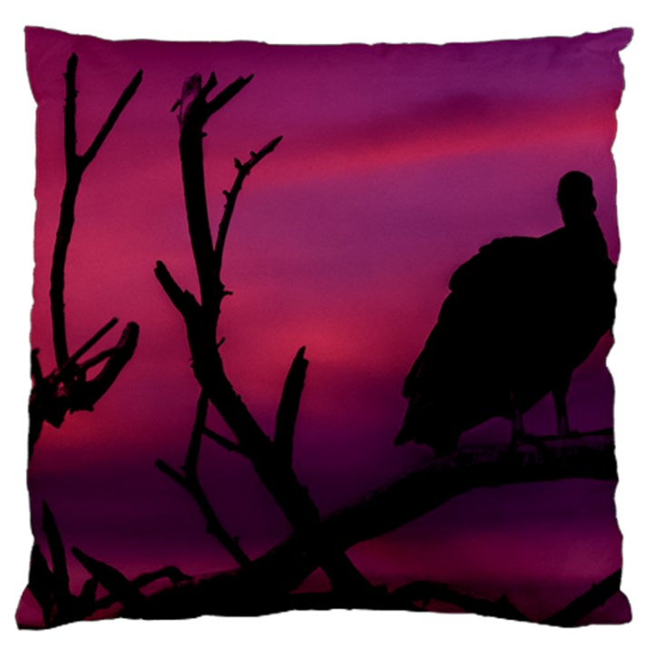 Vultures At Top Of Tree Silhouette Illustration Large Cushion Case (One Side)
