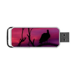 Vultures At Top Of Tree Silhouette Illustration Portable Usb Flash (one Side)