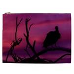 Vultures At Top Of Tree Silhouette Illustration Cosmetic Bag (XXL)  Front