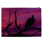 Vultures At Top Of Tree Silhouette Illustration Cosmetic Bag (XXL)  Back