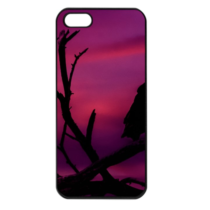 Vultures At Top Of Tree Silhouette Illustration Apple iPhone 5 Seamless Case (Black)