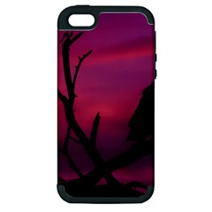 Vultures At Top Of Tree Silhouette Illustration Apple iPhone 5 Hardshell Case (PC+Silicone)
