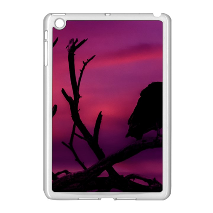 Vultures At Top Of Tree Silhouette Illustration Apple iPad Mini Case (White)
