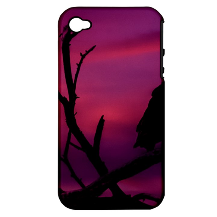 Vultures At Top Of Tree Silhouette Illustration Apple iPhone 4/4S Hardshell Case (PC+Silicone)