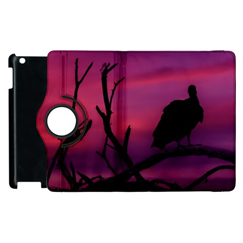 Vultures At Top Of Tree Silhouette Illustration Apple iPad 2 Flip 360 Case