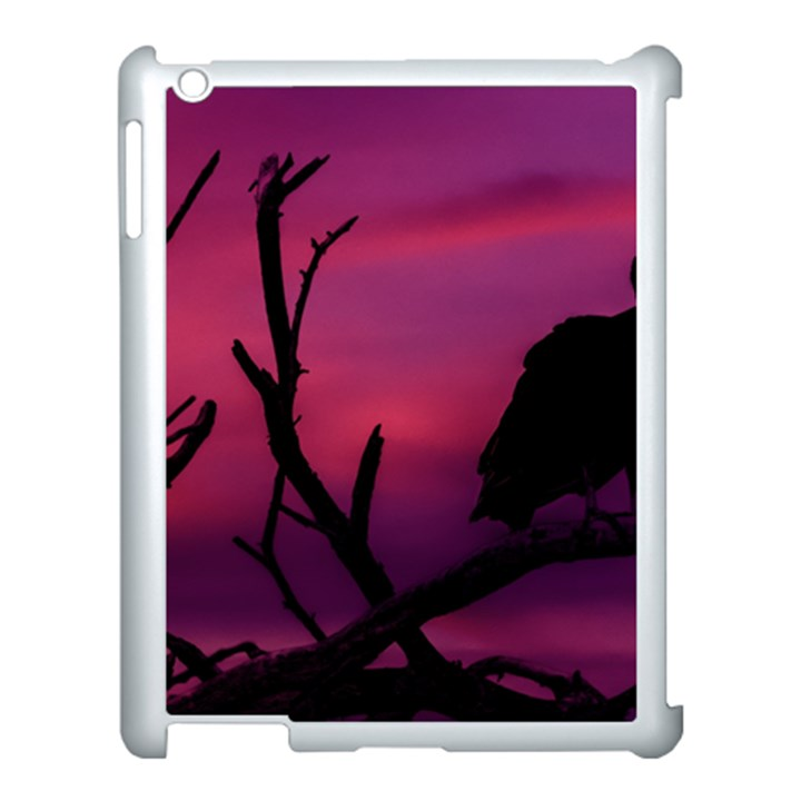 Vultures At Top Of Tree Silhouette Illustration Apple iPad 3/4 Case (White)