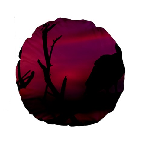 Vultures At Top Of Tree Silhouette Illustration Standard 15  Premium Round Cushions