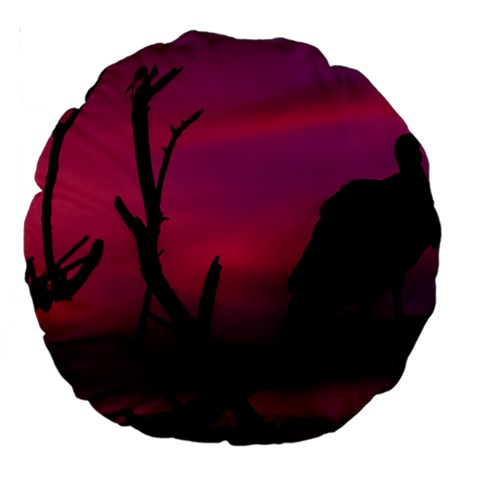 Vultures At Top Of Tree Silhouette Illustration Large 18  Premium Round Cushions