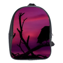 Vultures At Top Of Tree Silhouette Illustration School Bags (XL)