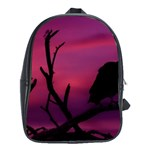 Vultures At Top Of Tree Silhouette Illustration School Bags (XL)  Front