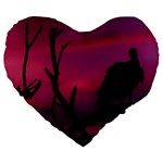 Vultures At Top Of Tree Silhouette Illustration Large 19  Premium Heart Shape Cushions Front