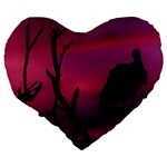 Vultures At Top Of Tree Silhouette Illustration Large 19  Premium Heart Shape Cushions Back