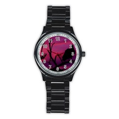 Vultures At Top Of Tree Silhouette Illustration Stainless Steel Round Watch