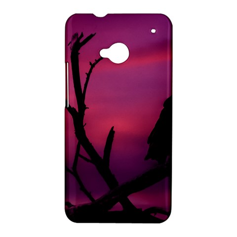 Vultures At Top Of Tree Silhouette Illustration HTC One M7 Hardshell Case