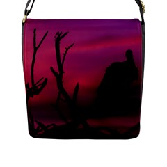 Vultures At Top Of Tree Silhouette Illustration Flap Messenger Bag (L)
