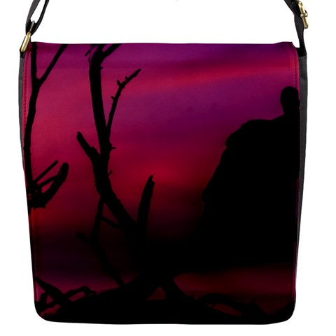 Vultures At Top Of Tree Silhouette Illustration Flap Messenger Bag (S)