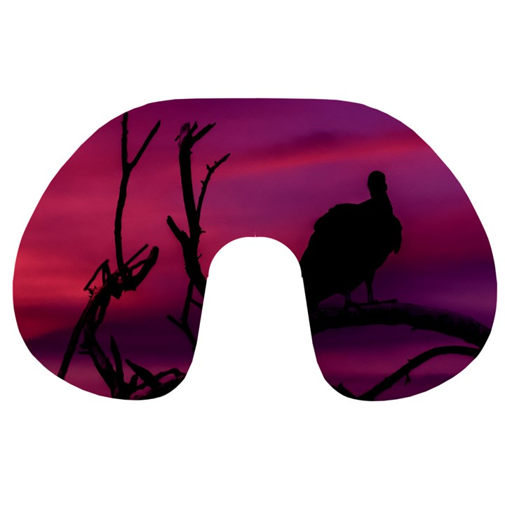 Vultures At Top Of Tree Silhouette Illustration Travel Neck Pillows