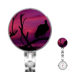 Vultures At Top Of Tree Silhouette Illustration Stainless Steel Nurses Watch