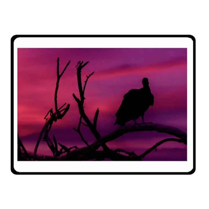Vultures At Top Of Tree Silhouette Illustration Double Sided Fleece Blanket (Small)