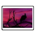 Vultures At Top Of Tree Silhouette Illustration Double Sided Fleece Blanket (Small)  50 x40 Blanket Back