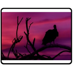 Vultures At Top Of Tree Silhouette Illustration Double Sided Fleece Blanket (Medium)