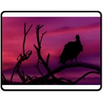 Vultures At Top Of Tree Silhouette Illustration Double Sided Fleece Blanket (Medium)  60 x50 Blanket Back