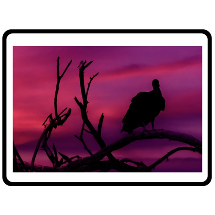 Vultures At Top Of Tree Silhouette Illustration Double Sided Fleece Blanket (Large)