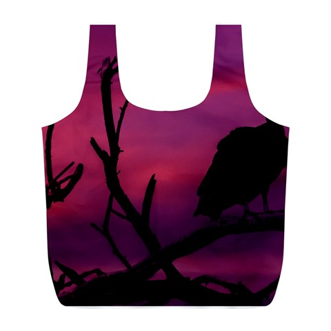 Vultures At Top Of Tree Silhouette Illustration Full Print Recycle Bags (L)