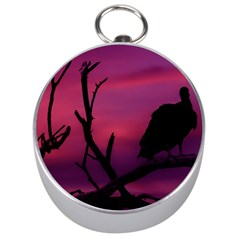 Vultures At Top Of Tree Silhouette Illustration Silver Compasses