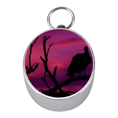 Vultures At Top Of Tree Silhouette Illustration Mini Silver Compasses