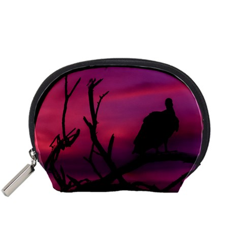 Vultures At Top Of Tree Silhouette Illustration Accessory Pouches (Small)