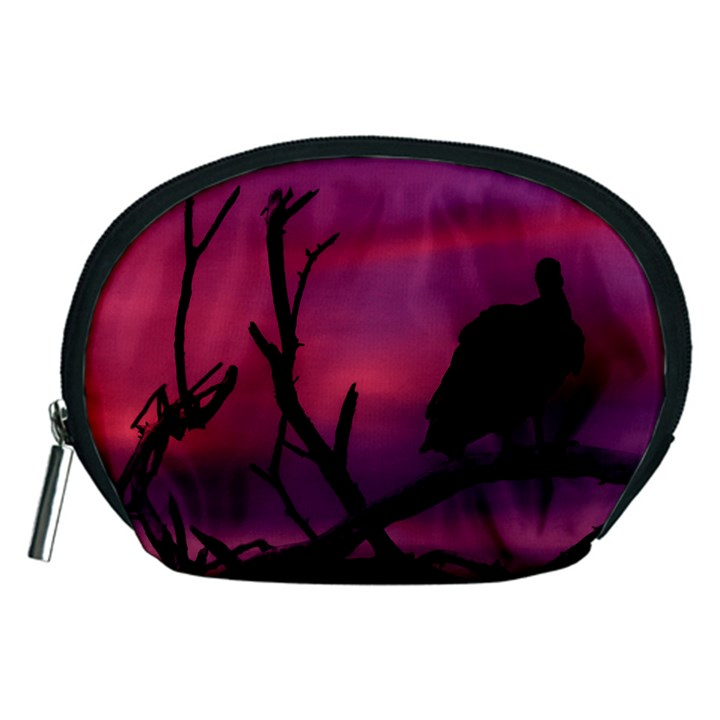 Vultures At Top Of Tree Silhouette Illustration Accessory Pouches (Medium)