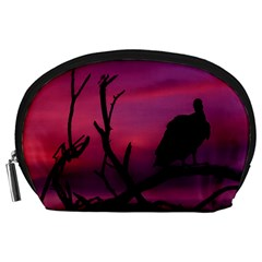 Vultures At Top Of Tree Silhouette Illustration Accessory Pouches (large)