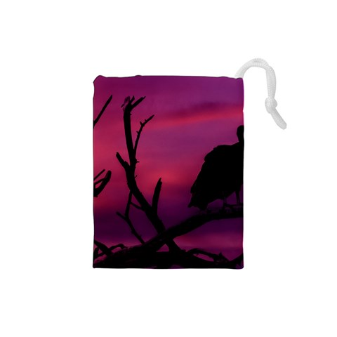 Vultures At Top Of Tree Silhouette Illustration Drawstring Pouches (Small)