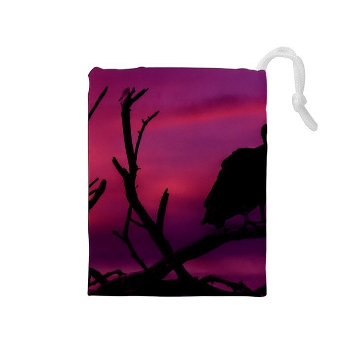 Vultures At Top Of Tree Silhouette Illustration Drawstring Pouches (Medium)