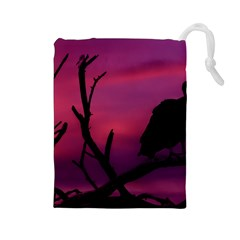 Vultures At Top Of Tree Silhouette Illustration Drawstring Pouches (Large)