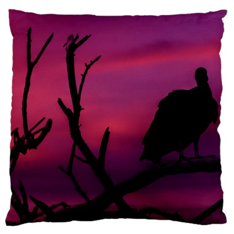Vultures At Top Of Tree Silhouette Illustration Large Flano Cushion Case (Two Sides)