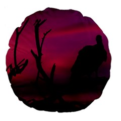 Vultures At Top Of Tree Silhouette Illustration Large 18  Premium Flano Round Cushions