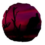 Vultures At Top Of Tree Silhouette Illustration Large 18  Premium Flano Round Cushions Front