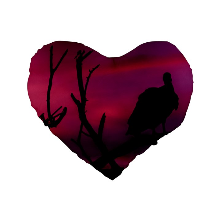 Vultures At Top Of Tree Silhouette Illustration Standard 16  Premium Flano Heart Shape Cushions