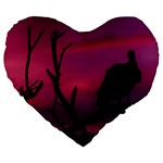 Vultures At Top Of Tree Silhouette Illustration Large 19  Premium Flano Heart Shape Cushions Front