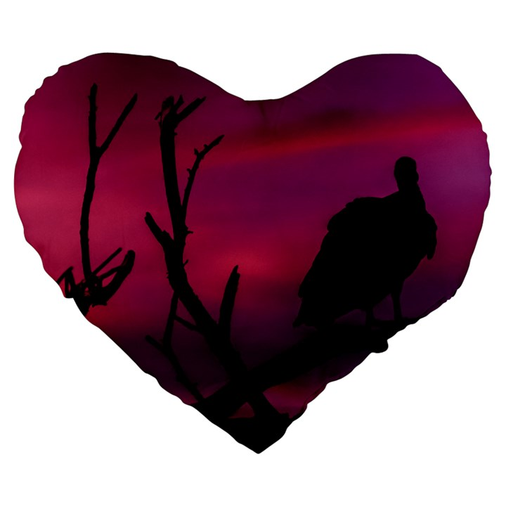 Vultures At Top Of Tree Silhouette Illustration Large 19  Premium Flano Heart Shape Cushions
