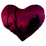 Vultures At Top Of Tree Silhouette Illustration Large 19  Premium Flano Heart Shape Cushions Back