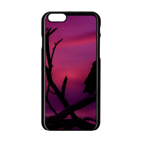 Vultures At Top Of Tree Silhouette Illustration Apple iPhone 6/6S Black Enamel Case