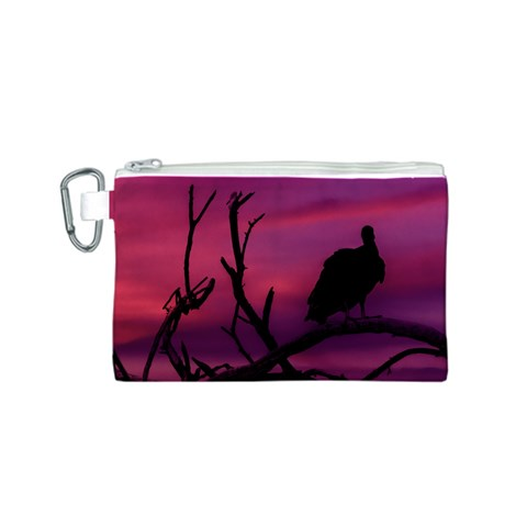 Vultures At Top Of Tree Silhouette Illustration Canvas Cosmetic Bag (S)