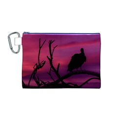 Vultures At Top Of Tree Silhouette Illustration Canvas Cosmetic Bag (M)